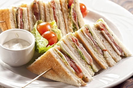 lunch time:  club sandwich with Stock Photo