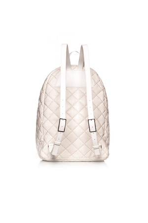 petticoat: white backpack from behind on white background Stock Photo