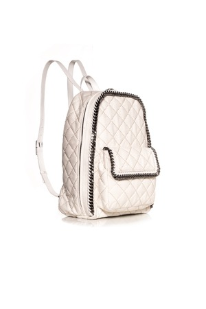 petticoat: white backpack  on white background Stock Photo