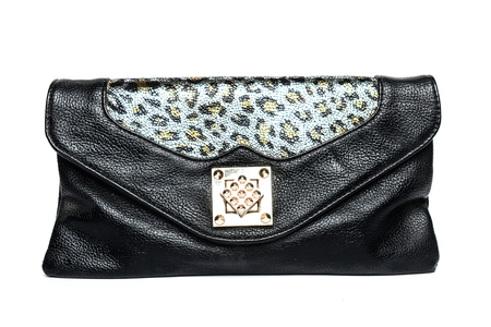 clutch: Black leather clutch on a white background