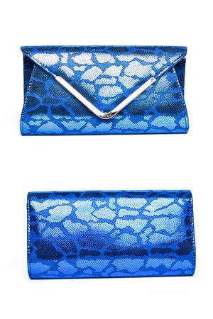clutch: Shiny blue clutch on a white background