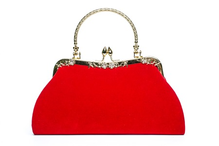 clutch: Red velvet clutch on a white background
