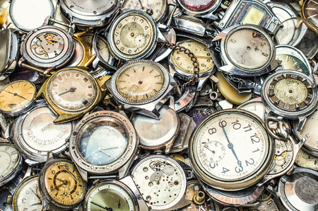 conglomeration: texture of the old clock,a lot of old clock Stock Photo