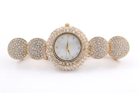Poignet la montre en or des femmes de diamants Banque d'images - 46329761