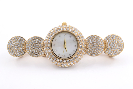 Womens Wrist gold watch with diamonds Stock Photo