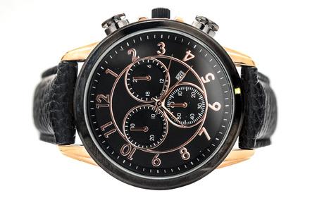 wristwatch: wristwatch with a leather strap