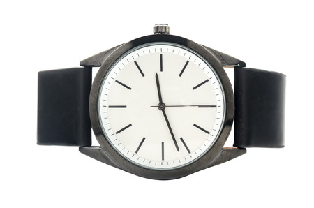 minimalist wristwatch with a leather strap