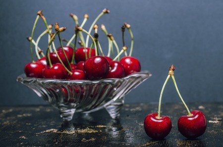 sweet background: Still life with cherries