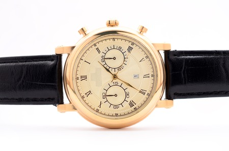 luxe: mens wristwatch on a white background