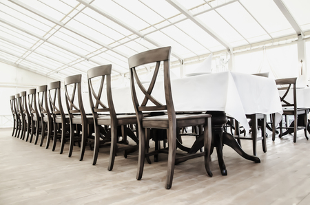 banqueting: a row of chairs in the restaurant