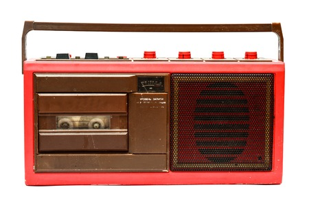 vintage radio: Old red cassette player