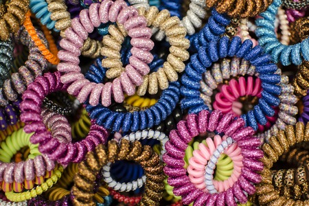 scrunchie: lots of colorful hair bands