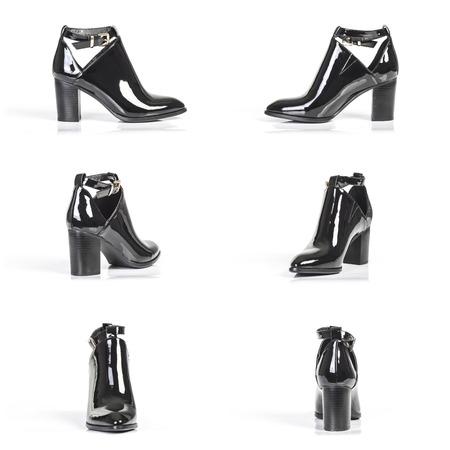 varnished: varnished half boots isolated on white