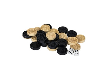 checker: checkers and dice on a white background Stock Photo