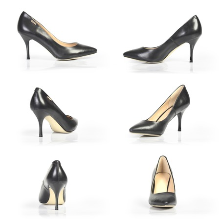 black heels: black heels from different angles on a white background
