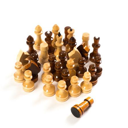 chessmen: wooden chessmen on a white background