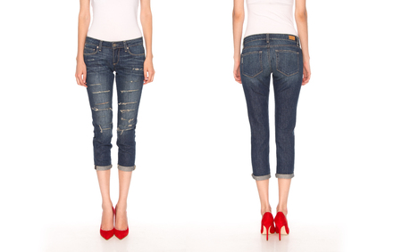 denim jeans: female legs in blue breeches and red shoes
