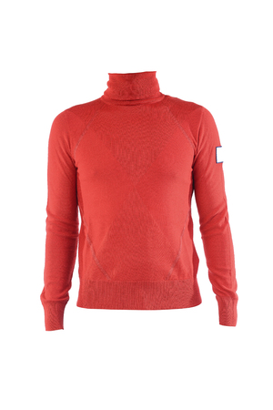 red cardigan: mens red turtleneck on white background Stock Photo
