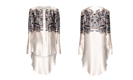 tunic: silk white tunic with a pattern on a white background