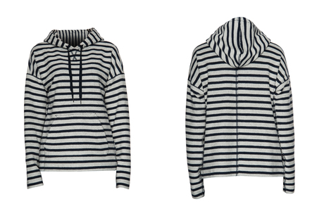 warm things: striped sweatshirt on a white background