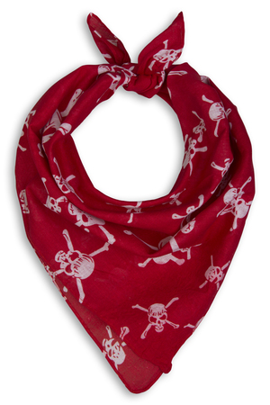 red bandana with a skeleton on a white background
