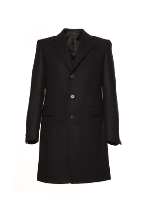 greatcoat: Black mens winter coat on a white background Stock Photo