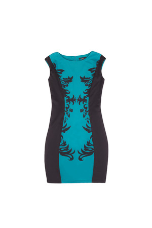 garb: black and turquoise dress with patterned dress on white background