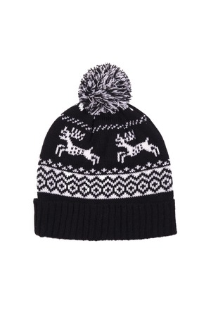 dupe: black winter hat with deer on white background