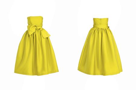 traje de gala: Vestido amarillo aislado en blanco Foto de archivo