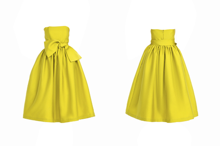 beautiful dress: Yellow dress isolated on white