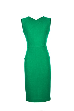 vintage dress: green dress on a white background