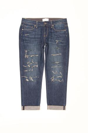 breeches: denim breeches on a white background Stock Photo