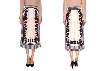 nether: silk wide trousers with a pattern