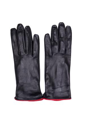 petticoat: Black female leather gloves isolated on white background