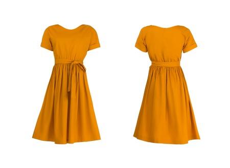 오렌지 드레스는 흰색에 고립 스톡 콘텐츠