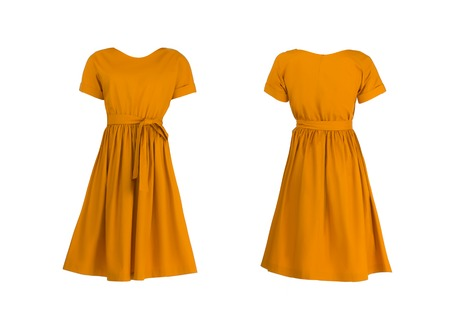 vintage dress: Orange dress isolated on white