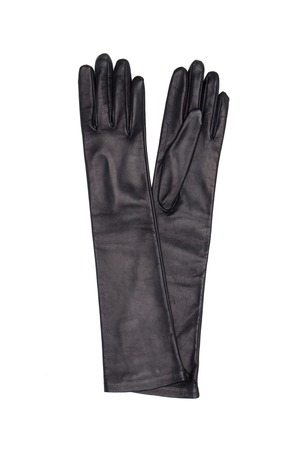 warm things: Black female leather gloves isolated on white background