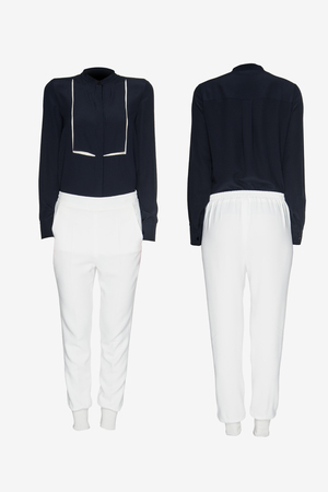 nether: Womens business suit on a white background