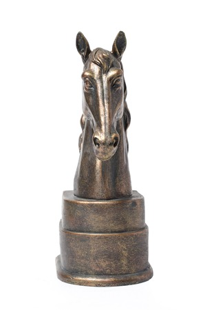statuette: bronze statuette of a horse isolated on white