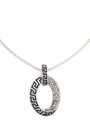 coulomb: oval silver pendant with gems isolated on white