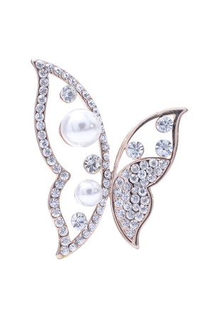 brooch: Brooch butterfly isolated on white