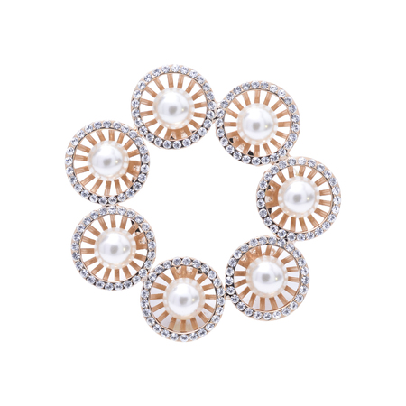 pearl: gold brooch with pearls isolated on white Stock Photo