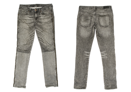 Mens denim trousers isolated on white Stock Photo