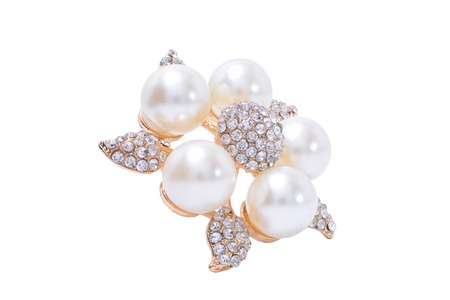 brooch: Flower Brooch with pearls isolated on white Stock Photo