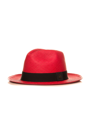 red straw: red straw hat isolated on white