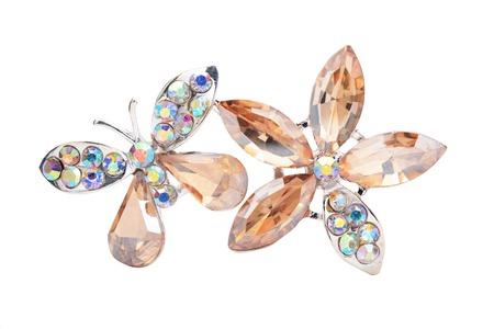 꽃과 화이트 절연 나비 브로치