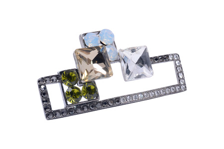 brooch: brooch with gems isolated on white Stock Photo