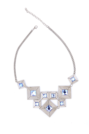coulomb: Silver necklace with gems isolated on white
