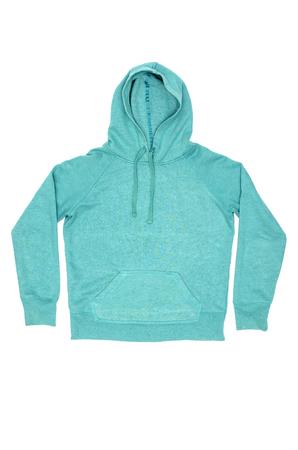 Female turquoise hoody isolated on white