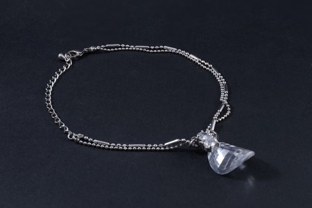 coulomb: silver bracelet with big stone isolated black